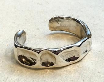Hammered silver cuff, Sterling silver cuff, oxidised bracelet, unisex statement cuff, oxidised cuff, simple cuff - Can't Let Go B3003B