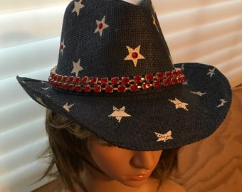 4th Of July Western Hats, Cowgirl Hats, Cowboy Hats, 4th Of July Hats, Rhinestone Hat, Bling Hat,  Womens Hat, Bling Hat, Cowboy Hat