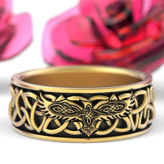 Gold Celtic Raven Ring, Raven Wedding Band, Mens Wedding Band, Irish Wedding, Celtic Trinity Ring 10K 14K 18K Gold Pd or Pt Custom Size 1171