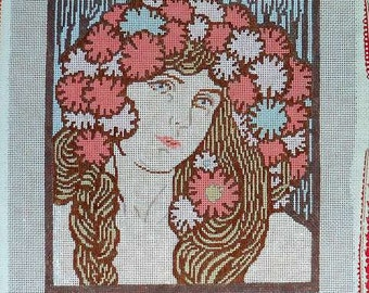 Theodora Handpainted Needlepoint Canvas Girl with Flowers