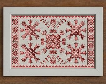 Knots & Flowers, Swedish Cushion Pattern - Cross Stitch Chart - Instant Download PDF