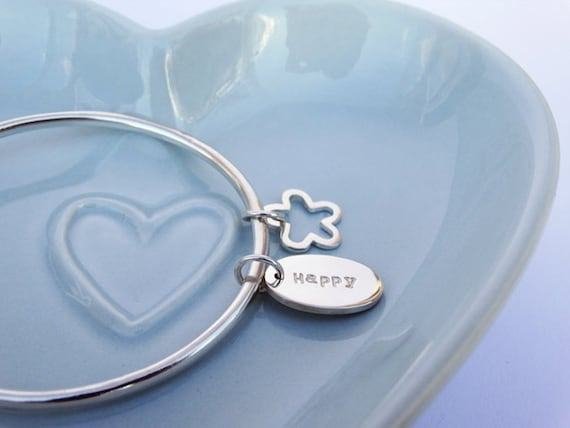 Silver 'Happy' Bangle & Flower - Sterling Silver