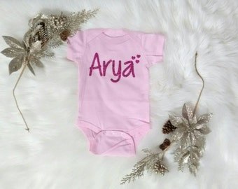 Personalize Name Baby One-Piece, Custom Glitter Name Baby Bodysuit