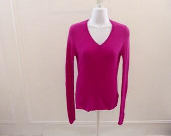 100% Cashmere Sweater Size S Magenta Pink V Neck Adrienne Vittadini 36 Chest