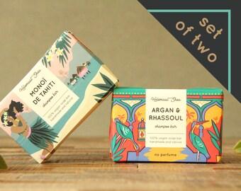 Set of two shampoo bars vegan - vegan hair soap - vegan shampoo bar - vegan gifts - vegan gift ideas - vegan gift for her - soap bar set
