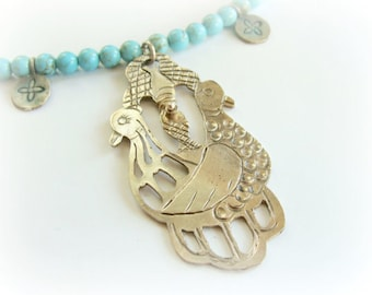 Ancient Birds necklace - sterling silver metalwork necklace