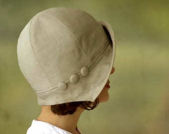 Eleanor - 1920s 1930s Cloche Hat for Summer or Autumn Custom Size Linen