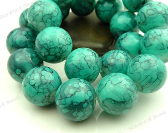 Light Sea Green and Black Swirled Round Glass Beads - 14mm Smooth Mottled Beads, Shiny Colorful Bohemian Beads - 14pcs - BL24