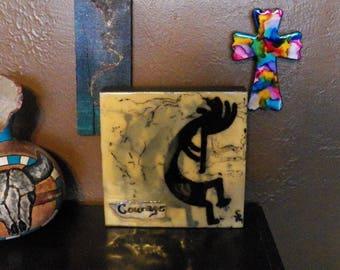 Courage, Encaustic, ink, acrylic and wax on wood cradled board. kokopelli