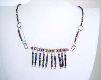 Safety Pin Necklace colorful dark beaded safety pins statement necklace on black chain