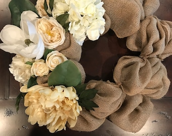 Burlap Wreath , condolences, wedding,  sympathy gift, southern floral magnolia hydrangea country wreath