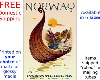 Poster, Travel - Pan Am Airlines - Norway - Vintage Airline Travel Print (505437023)