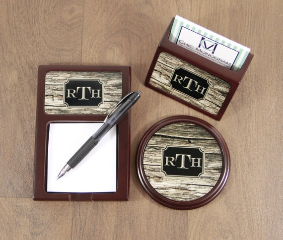 Desk Accessories for Dad Father's Day Gift Wood Mahogany Desk Accessories Set Sticky Note Holder Coaster & Business Card Holder Promotion