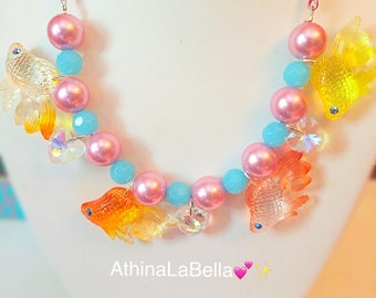 Kawaii Pastel Mermaid Fishy Necklace - Charm Necklace, Plastic Jewelry, Costume Jewelry, Ocean Jewelry