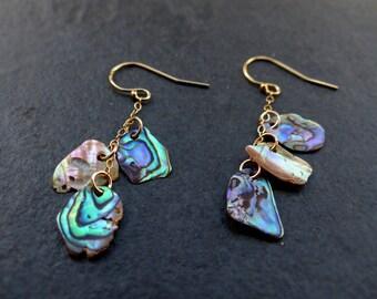 Abalone earrings, 14K gold filled, sterling silver, freeform dangle drop earrings, paua shell earrings, natural beach jewelry, blue, green