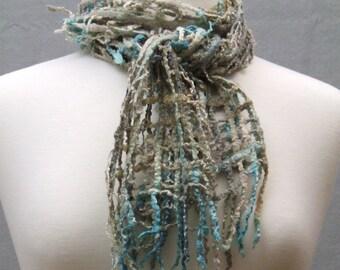 Hand Felted Lattice Scarf Hand Dyed Silk Merino Wool Blend Beaded Sand Sea Beach