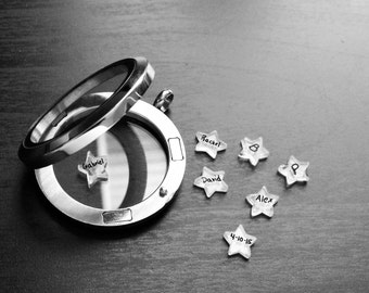 Personalized Star Floating Charm for Floating Lockets-Add Name, Date, or Word-Handmade-1 Pc-Great Gift Ideas