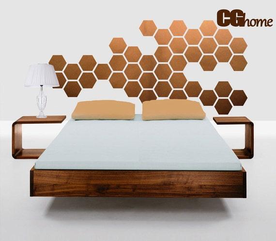 copper HEXAGON geometric honeycomb WALL decal vinyl at home