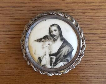 Miniature Framed Religious Print For Dollhouse or Printer's Drawer-  Antique Miniature Framed Sepia Toned Art Print