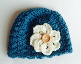 Crochet baby beanie with crochet flower, baby hat, baby beanie