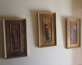 Antique Vintage Florentine Set Three Angel Italy Italian Painting Wooden Frame Wall Hanging