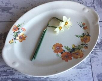 Vintage Taylor Smith Taylor Poppy Platter - Orange TST Floral Small