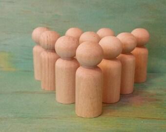 Wooden peg dolls 'boy' size- 4cm lot of 10