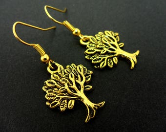 A pair of pretty gold colour tree of life dangly earrings.