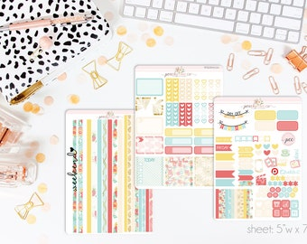 Blossom HORIZONTAL Weekly Kit // 130+ Matte Planner Stickers // Perfect for your Erin Condren Life Planner // WKH0020