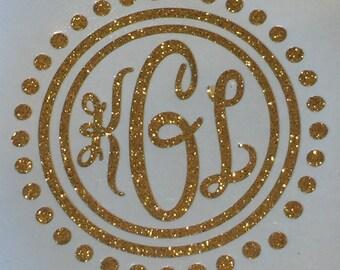 Circle Monogram Dot Glitter Vinyl Decal / Yeti Vinyl Sticker / Car Decal/ Glitter Vinyl Stickers