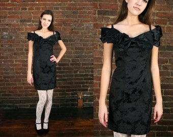 80s Party Dress Black Cocktail Brocade Floral Cold Shoulder Mini Dress Off Shoulder Glam Evening Prom 1980s Glitter Goth Extra Small - Small