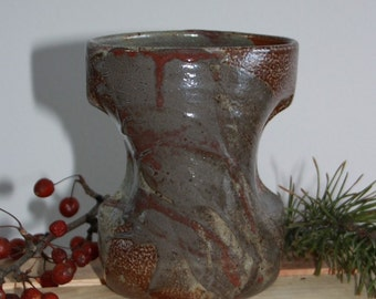 Red Grey and Spotted Brown Ceramic Vase, Abstract Clay Vessel, Modern Home Decor, Unique Sculpture, Utensil Holder