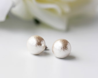 White Cotton Pearl Titanium Studs Nickel Free Light Weight Simple Earrings