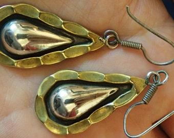 Teardrop scalloped Hook Sterling Earrings.