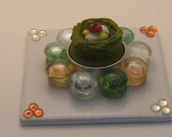 Handmade candle holder with candle bgr29 green nest