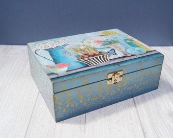 Wooden tea bags box We all like flowers tea and desserts box wooden tea box tea bag box for tea bags tea bags storage kitchen decor blue