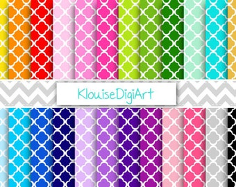 Rainbow and Pastel Quatrefoil Digital Printable Papers for Personal and Commercial Use (0035)