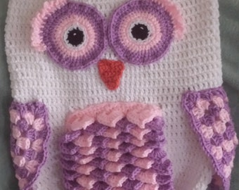 Handmade Crochet Owl Cocoon and Hat----Made to Order