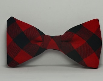 Buffalo Plaid Bow Tie, Red and Black Bowtie, Boy's Bow Tie, Christmas Outfit, Children's Bowtie, Toddler, Baby, Photography Prop, Wedding