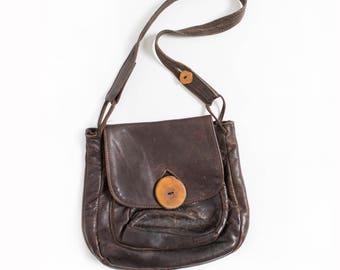 Vintage Boho Purse - 1970s Brown Leather Artisan Bag