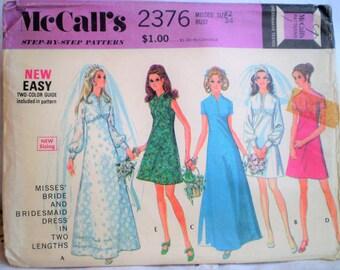 Vintage 1970s McCalls' 2376 Bride & Bridesmaid Dress Pattern Size 12 Bust 34 - vintage wedding,empire waist,gathered cuffs,bodice,underskirt