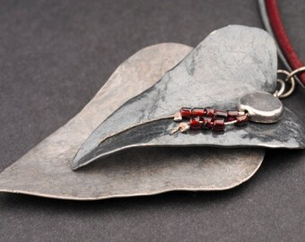 After Christmas Sale: 10% off. Leather Choker 2 Natural Silver Leaves, Electroform, Garnet , 2 Leather Strings, Red and Silver, Rustic
