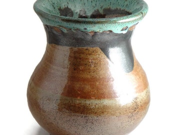 "Large wide mouth Vase, Tan and Aqua mint blue, ""Sandstone Splash"", Wheel Thrown stoneware pottery ceramic"