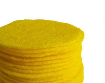 "30 pcs, Yellow Felt Circles 1"" to 8"""