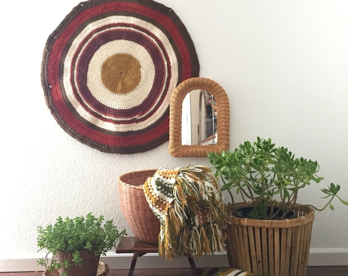 vintage boho round afghan throw blanket / bedding / table cloth / rug / wall art / tie dye