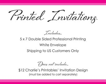 Professionally printed invitations and envelopes for U.S. customers only, Double Sided, 5 x 7, Shipping Included