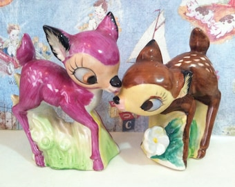 FREE Shipping Rare Vintage Purple Deer Falina Brown Bambi Salt & Pepper Shakers Collectibles or Cake Toppers