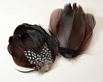 Guinea Goose Feather pad - Dark Brown