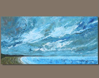 FREE SHIP abstract painting, seascape painting, landscape painting, rectangular art, beach, stormy, ocean painting, panoramic painting