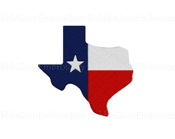 Texas State Shaped Flag Embroidery Design Instant Download